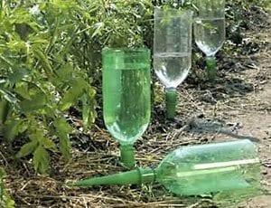 pet lahve na zahradě,šetření vodou